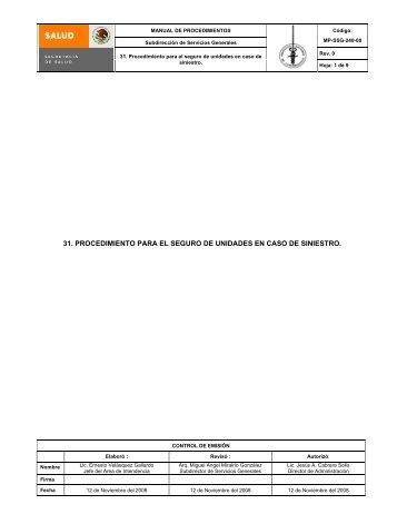 31. procedimiento para el seguro de unidades en caso de siniestro.