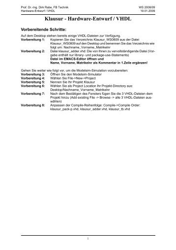 Klausur - Hardware-Entwurf / VHDL - Technik