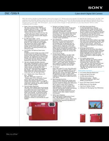 DSC-T200/R Cyber-shot® Digital Still Camera - Sony Electronics ...