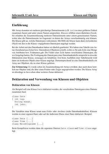 Klassen und Objekte - Informatik in der Oberstufe