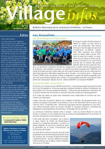 bulletin municipal n° 13 - Printemps 2011 - Commune d'Arâches-La ...