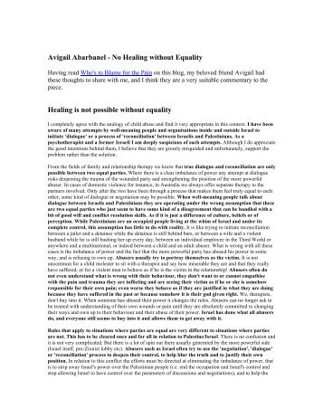 Avigail Abarbanel -No Healing Without Equality - Talat-Alaiyan ...