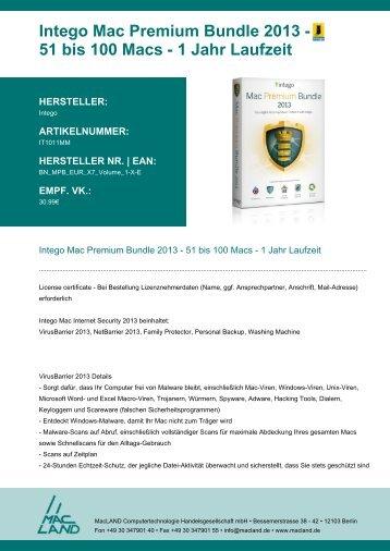 Intego Mac Premium Bundle 2013 - 51 bis 100 Macs - 1 ... - MacLAND