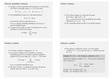 Discrete probability measures Uniform measure Random variables ...
