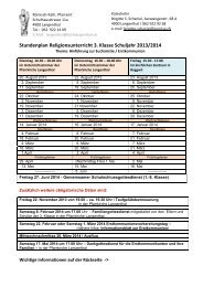 Stundenplan Religionsunterricht 3. Klasse Schuljahr 2013/2014