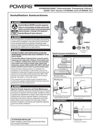 Potable Hot Water Expansion Tank Installation Instructions