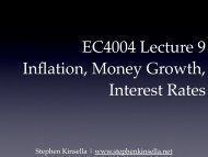 EC4004 Lecture 9 Inflation, Money Growth ... - Stephen Kinsella