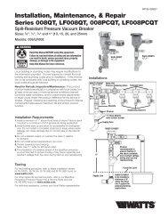 Installation, Maintenance, & Repair - Watts Water Technologies, Inc.