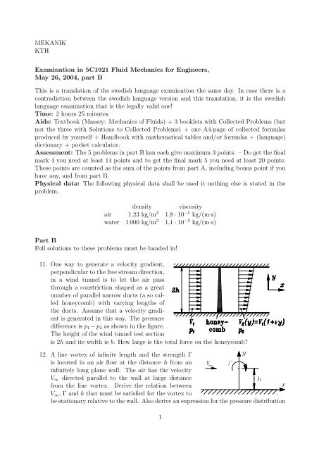 MEKANIK KTH Examination in 5C1921 Fluid Mechanics for