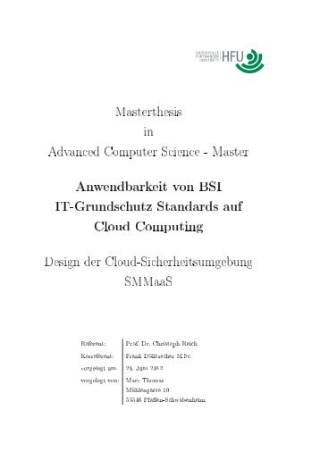 Anwendbarkeit von BSI IT-Grundschutz Standards auf Cloud ...