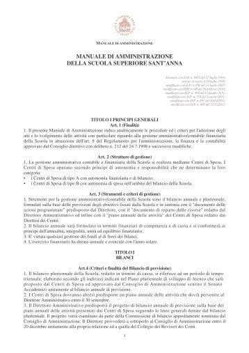 Manuale di amministrazione - Scuola Superiore Sant'Anna