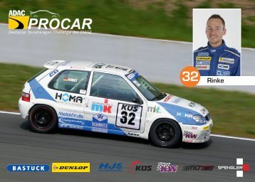 autograph card Andreas Rinke - ADAC Procar