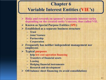special purpose entities or variable interest