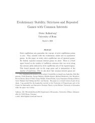 Evolutionary Stability, Strictness and Repeated Games with ...