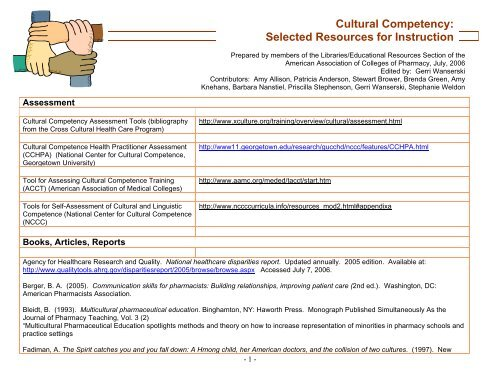 Tool for Assessing Cultural Competence Training - AACP