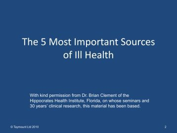 Enid Taylor: The 5 Most Important Sources of Ill Health
