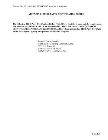 May 2011 Addendum to Advisory Circular 150/5345-53C, Airport ...