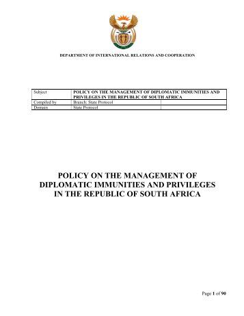 Diplomatic Law: Privileges and Immunities