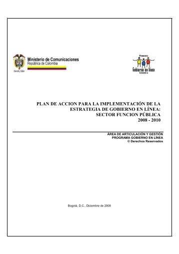 plan de accion para la implementación de la estrategia de gobierno ...