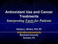 Antioxidant Use and Cancer Treatments - Office of Dietary ...