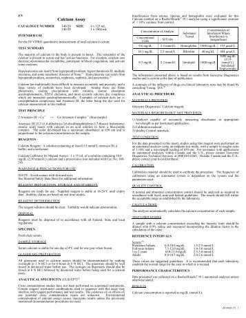 Calcium Assay - Sekisui Diagnostics
