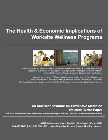 The Health & Economic Implications of Worksite ... - Qigong Institute