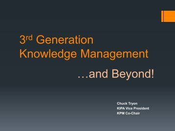 3rd Generation Knowledge Management - Knowledge & Information ...
