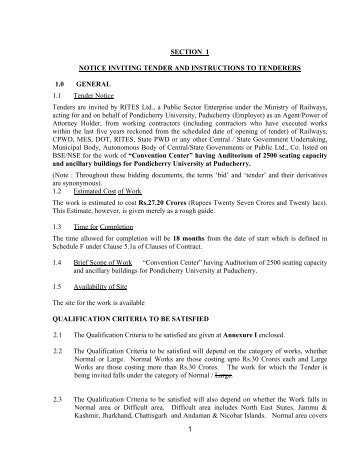 Modified cpwd 6 notice inviting tender 1 lump sum 1 section 1 notice inviting tender and rites stopboris Choice Image