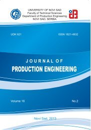 Journal of Production Engineering 2013 No.2
