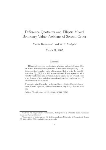 Difference Quotients and Elliptic Mixed Boundary Value Problems of ...