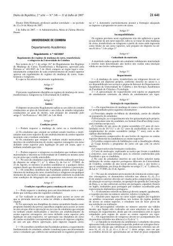 Regulamento 162/2007 de 31 de julho - Universidade de Coimbra