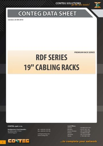 "conteg data sheet rdf series 19"" cabling racks"