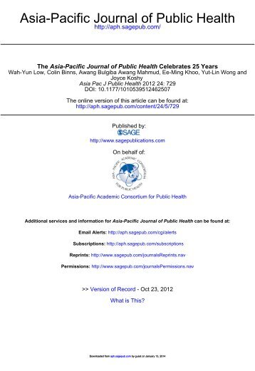 Asian pacific journal of public health