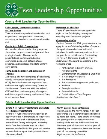 County 4-H Leadership Opportunities - RCE of Somerset County ...