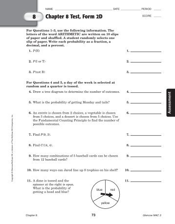 CHAPTER 8 NAME TEST FORM H CLASS SCORE GRADE