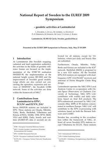 National Report of Sweden to the EUREF 2009 ... - Lantmäteriet
