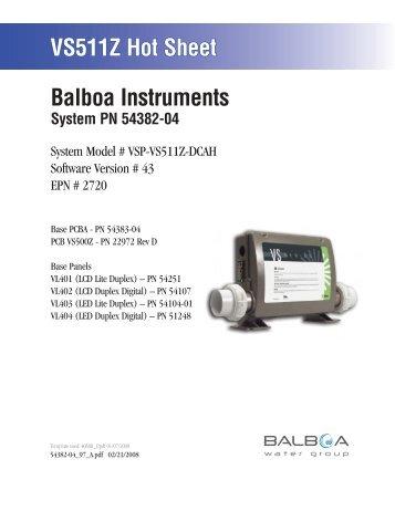 54382-04, VSP-VS511Z-DCAH - Balboa Direct