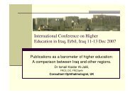 International Conference on Higher Education in Iraq, Erbil ... - Jalili.co