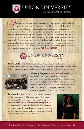 view music department flyer - Union University