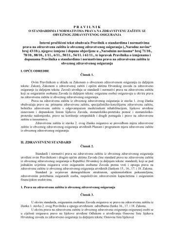 Interni pročišćeni tekst - Hrvatski zavod za zdravstveno osiguranje