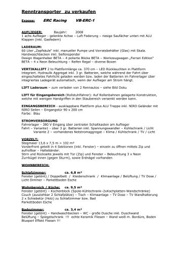Renntransporter Zu Verkaufen - ERC / Engljähringer Gmbh