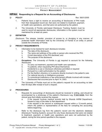 Request for an Accounting of Disclosures - UF Privacy Office ...