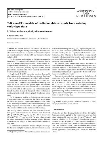 ASTRONOMY AND ASTROPHYSICS 2-D non-LTE models of ...