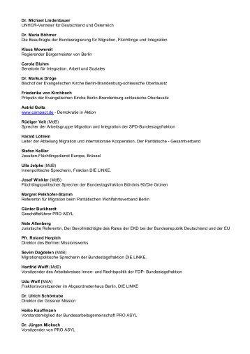 Dr. Michael Lindenbauer UNHCR-Vertreter für Deutschland und ...
