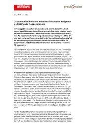 Graubünden Ferien und Heidiland Tourismus AG gehen Kooperation