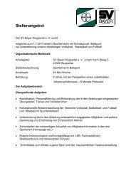 Stellenangebot - SV Bayer Wuppertal