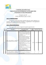 capitolato speciale fornitura di materiale sanitario per anestesia e ...