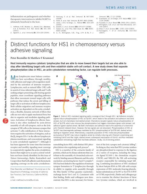 Distinct functions for HS1 in chemosensory versus adhesive signaling