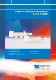 Valvola manuale monotubo Serie 119SX - Watts Industries