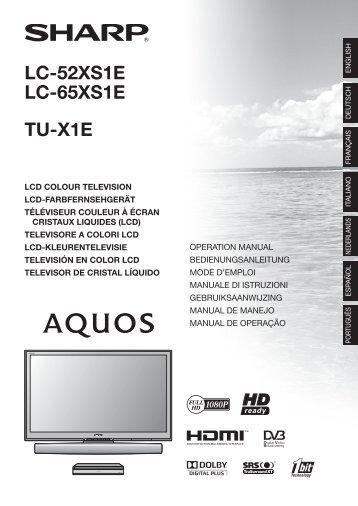 LC-52/65XS1E/TU-X1E Operation-Manual NL - Sharp